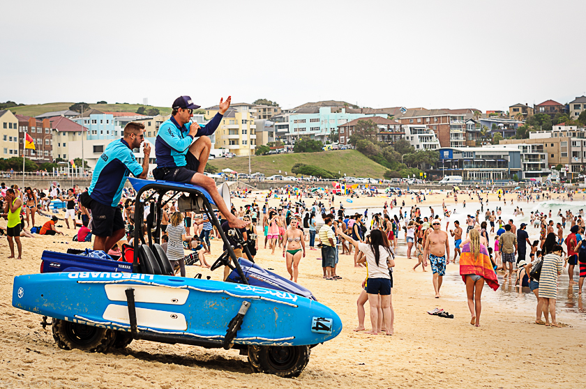 Bondi Lifeguards patrolling the beach on Christmas Day