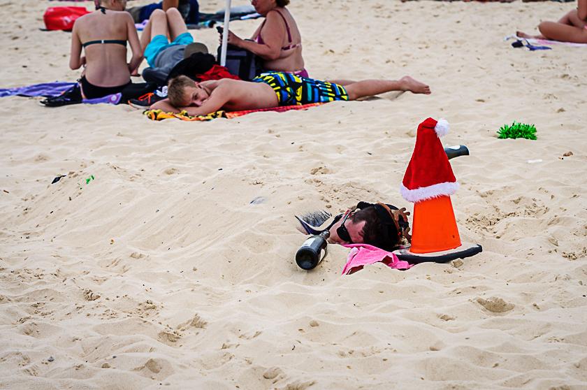 Drunk guy buried in sand while sleeping Bondi Beach