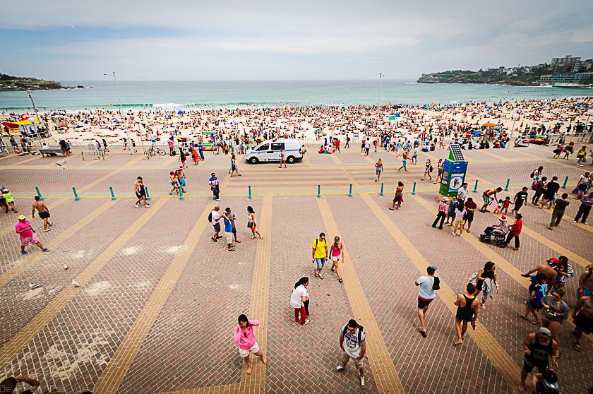 Crowded Bondi Beach on Christmas Day 2014