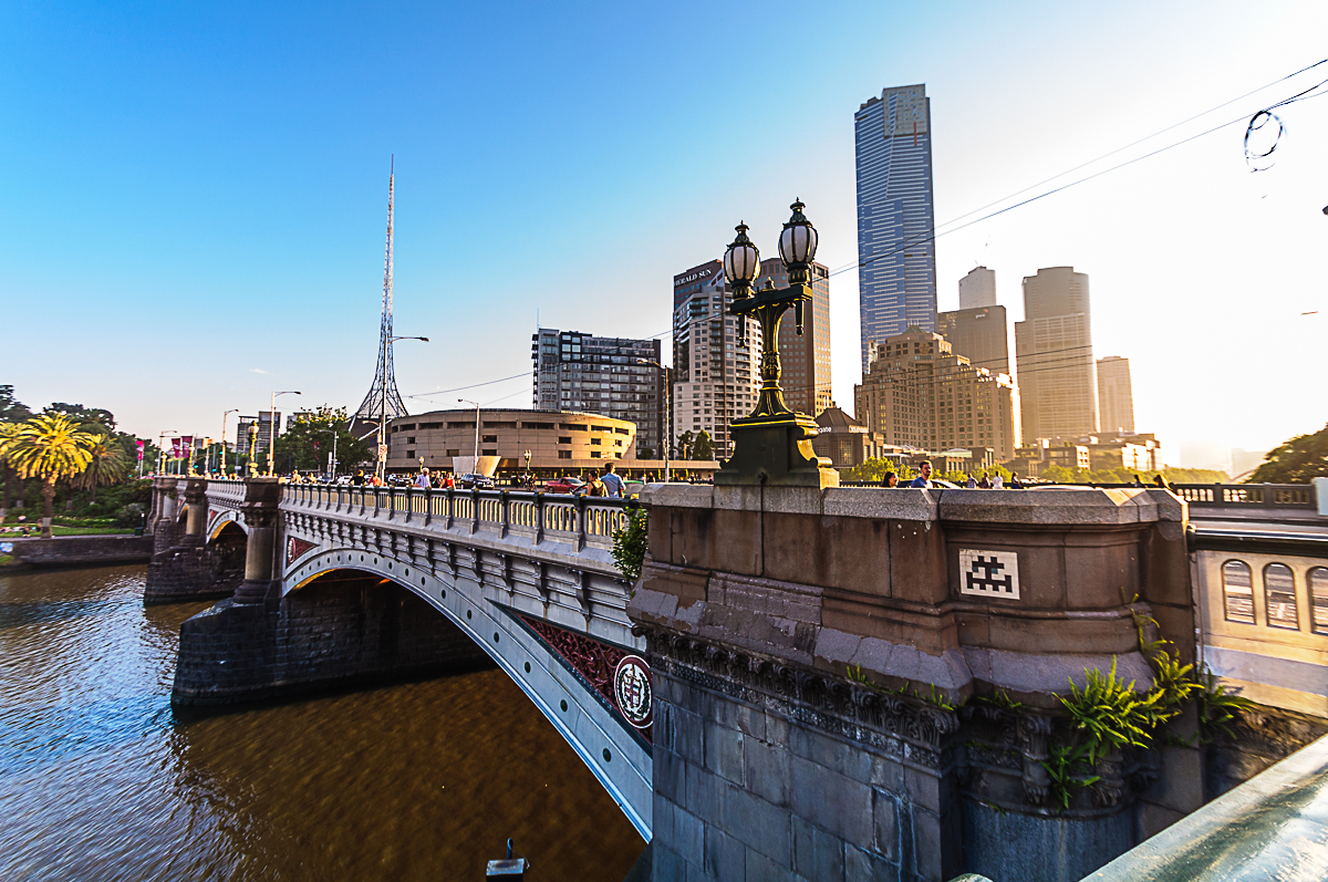St. Kilda Road Bridge Melbourne at Sunset